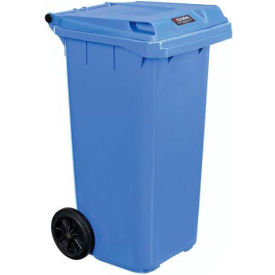 Global Industrial™ Mobile Trash Container with Lid - 32 Gallon Blue