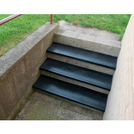 """Outdoor Recycled Rubber Stair Tread 42""""W Black"""