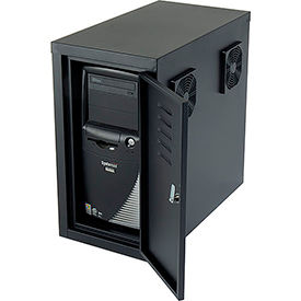 Computer CPU Side Cabinet with Front/Rear Doors and 2 Exhaust Fans - Black