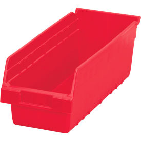 "Akro-Mils ShelfMax® Plastic Shelf Bin Nestable 30098 - 6-5/8""W x 17-7/8""D x 6""H Red - Pkg Qty 10"