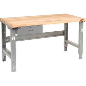 """60""""W x 30""""D Workbench, Butcher Block Square Edge with Drawer"""