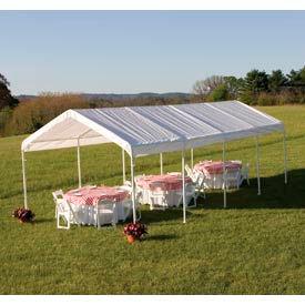 """Shelterlogic Super Max™ Canopy 25770, 12'W X 26'L, 2"""" Frame, 10-Leg, White"""