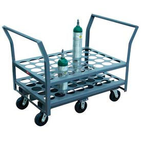 "Jamco Oxygen & Medical Cylinder Cart KN040 40 Type D & E Tanks 5"" Thermorubber, Twin Handles"