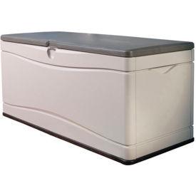 Lifetime 60012 Outdoor Deck Storage Bench Box 130 Gallon, Tan w/Brown Lid