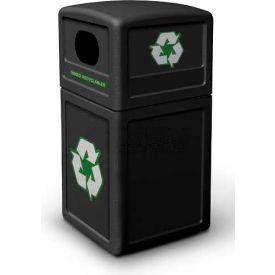42 Gallon Square Recycling Plastic Container, Black - 74610199