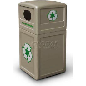 42 Gallon Square Plastic Recycling Container, Beige - 74610299