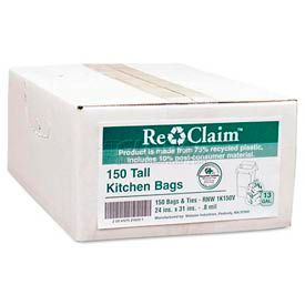 ReClaim™ White Recycled Kitchen Bags - 13 Gallon, 0.80 Mil, 150/Case