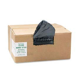 ReClaim™ Black Recycled Can Liners - 56 Gallon, 1.25 Mil, 100/Case