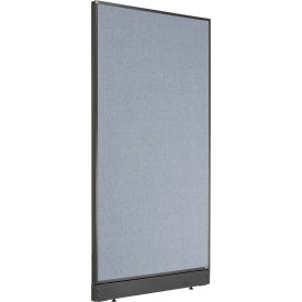 """Non-Electric Office Partition Panel with Raceway, 36-1/4""""W x 64""""H, Blue"""