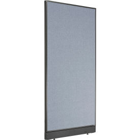 """Non-Electric Office Partition Panel with Raceway, 36-1/4""""W x 76""""H, Blue"""