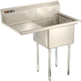 """Aero One Bowl SS sink 18 x 18 with 16-1/2"""" Left Side Drainboard"""