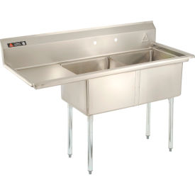 "Stainless Steel Sink - Two Bowl 18 x 18 with 16-1/2"" Left Sided Drainboard"