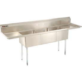"""Aero Three Bowl SS sink 18 x 18 with 16-1/2"""" Right and Left Side Drainboard"""