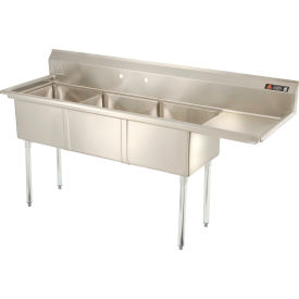 """Aero Three Bowl SS sink 18 x 18 with 16-1/2"""" Right Side Drainboard"""