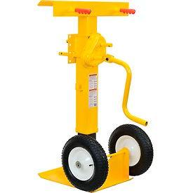 Hand Crank Trailer Jack Stand 100,000 Lb. Static Cap. Pneumatic Wheels