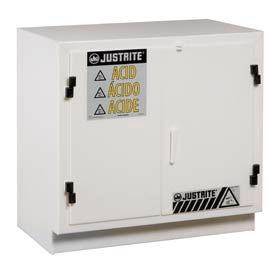 Justrite White Polyethylene Acid Cabinet - Undercounter