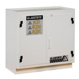 Justrite White Polyethylene Acid Cabinet - Standard