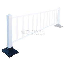 "Safety Steel Galvanized Post with Rubber Base 39""H White, Post Only"