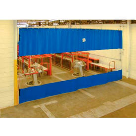 TMI Blue Curtain Wall Partition with Clear Vision Strip 12 x 8 QSCC-144X96