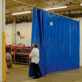 TMI Solid Blue Curtain Wall Partition 24 x 8 QSCS-288X96