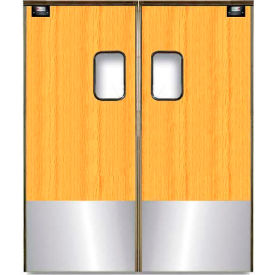 Chase Doors Medium Duty Service Door Double Panel Light Wood 6' x 7' with Kickplate 7284SC