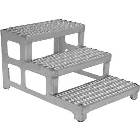 """Vestil ASP-24-3-SS Adjustable Height Step Stand, Stainless Steel 24""""W x 36""""L"""