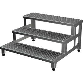 "Vestil ASP-36-3-A Adjustable Height Step Stand, Aluminum 36""W x 36""L"