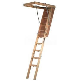 "Louisville Wood Attic Ladder, 22-1/2"" x 54"" Opening, 8'9"" - 10' Ceilings 300 Lb. Cap. - CL224P"