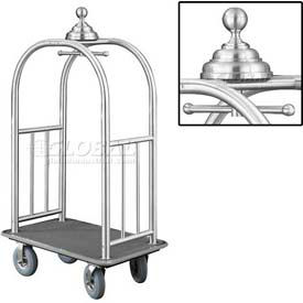 Glaro Ball Crown Bellman Cart 40x25 Satin Aluminum Gray Carpet, 4 Gray Pneu Wheels