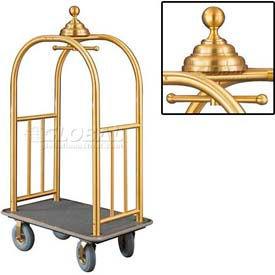 Glaro Ball Crown Bellman Cart 40x25 Satin Brass Gray Carpet, 4 Gray Pneu Wheels