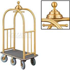 Glaro Ball Crown Bellman Cart 40x25 Satin Brass Gray Carpet, 6 Gray Pneu Wheels