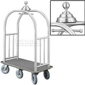 Glaro Ball Crown Bellman Cart 48x25 Satin Aluminum Gray Carpet, 6 Gray Pneu Wheels