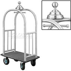 Glaro Ball Crown Bellman Cart 40x25 Satin Aluminum Gray Carpet, 4 Black Pneu Wheels