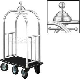 Glaro Ball Crown Bellman Cart 40x25 Satin Aluminum Black Carpet, 6 Black Pneu Wheels
