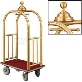 Glaro Ball Crown Bellman Cart 40x25 Satin Brass Burgundy Carpet, 4 Gray Pneu Wheels