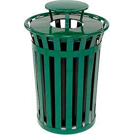 Global™ Outdoor Metal Slatted Trash Receptacle with Rain Bonnet Lid - 36 Gallon Green
