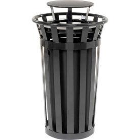 Global Industrial™ Outdoor Metal Slatted Trash Receptacle with Rain Bonnet Lid - 24 Gal Black
