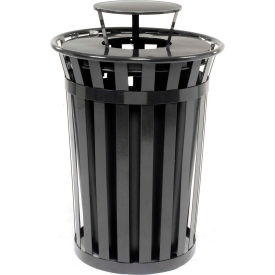 Global Industrial™ Outdoor Metal Slatted Trash Receptacle with Rain Bonnet Lid - 36 Gal Black