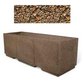 "Concrete Outdoor Planter w/Forklift Knockouts, 72""Lx24""W x 24""H Rectangle Tan River Rock"