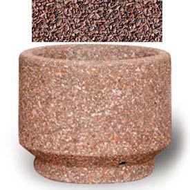 "Small Concrete Outdoor Planter, 19""Dia. x 15""H Round Red Quartzite"