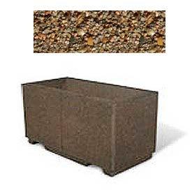 "Concrete Outdoor Planter w/Forklift Knockouts, 48""Lx24""Wx24""H Rectangle Tan River Rock"