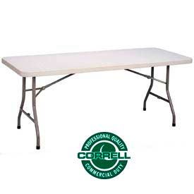 """Correll Folding Table - Blow Molded Rectangle - 30""""x 96"""" - Gray"""