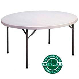 """Blow-Molded Plastic Folding Table 71"""" Round, Charcoal w/Gray Top"""