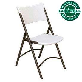 Blow-Molded Plastic Folding Chair, Charcoal w/Gray Seat, Ctn of 4 - Pkg Qty 4