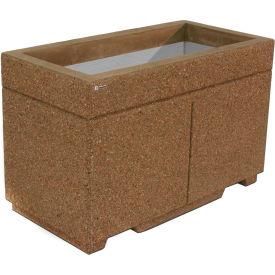 "Concrete Outdoor Planter w/Forklift Knockouts, 48""Lx24""Wx30""H Rectangle Gray Limestone"