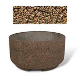 "Concrete Outdoor Planter w/Forklift Knockouts, 48""Dia x24""H Round Tan River Rock"