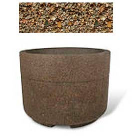 "Concrete Outdoor Planter w/Forklift Knockouts, 48""Dia x36""H Round Tan River Rock"
