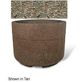 "Concrete Outdoor Planter w/Forklift Knockouts, 48""Dia x36""H Round Gray Limestone"