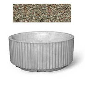 "Concrete Outdoor Planter w/Forklift Knockouts, 84""Dia x36""H Round Gray Limestone"