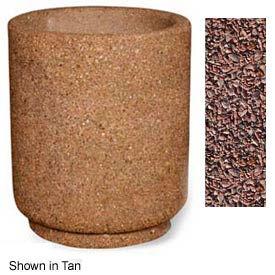 """Concrete Outdoor Planter 31""""Dia x 36""""H Round Red Quartzite"""